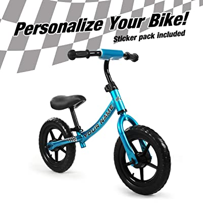 ISD Kids Balance Bike for Boys & Girls Personalizes Your Bike with Your Name, Push Bike for Toddlers, and up to Five-Year-Olds. (Blue Black): Sports & Outdoors
