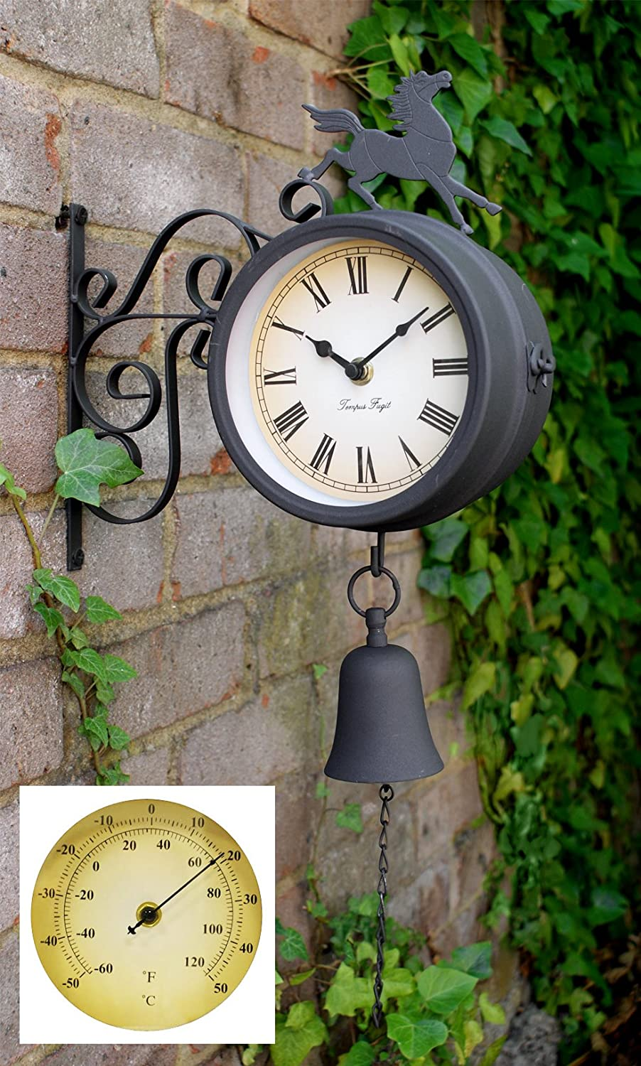 Amazon horse and bell clock with thermometer 187in amazon horse and bell clock with thermometer 187in outdoor clocks garden outdoor amipublicfo Images