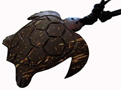 Brown Leatherback Turtle Necklace Coconut Wood Turtle Necklace