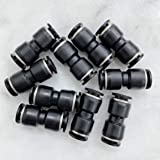 """MacCan Pneumatic PUC3/8 Union Straight 3/8"""" x 3/8"""" Tube OD Air Push to Connect Fittings (Pack of 10)"""