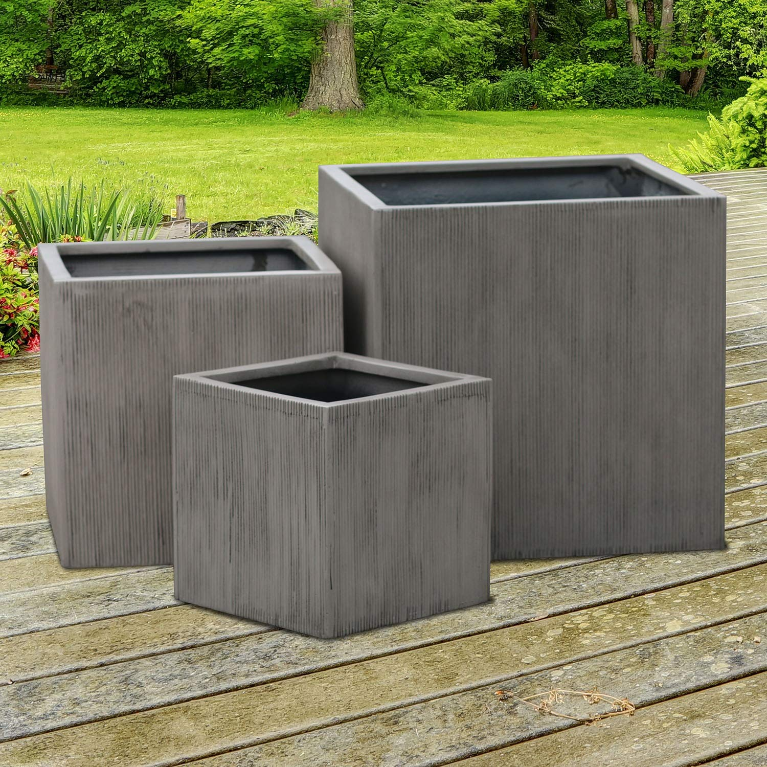 Square Planter - Cube Shaped Vertical Line Indoor Outdoor Flower Pot Brown Cement Color (20'' Inch) by Vase Source (Image #3)