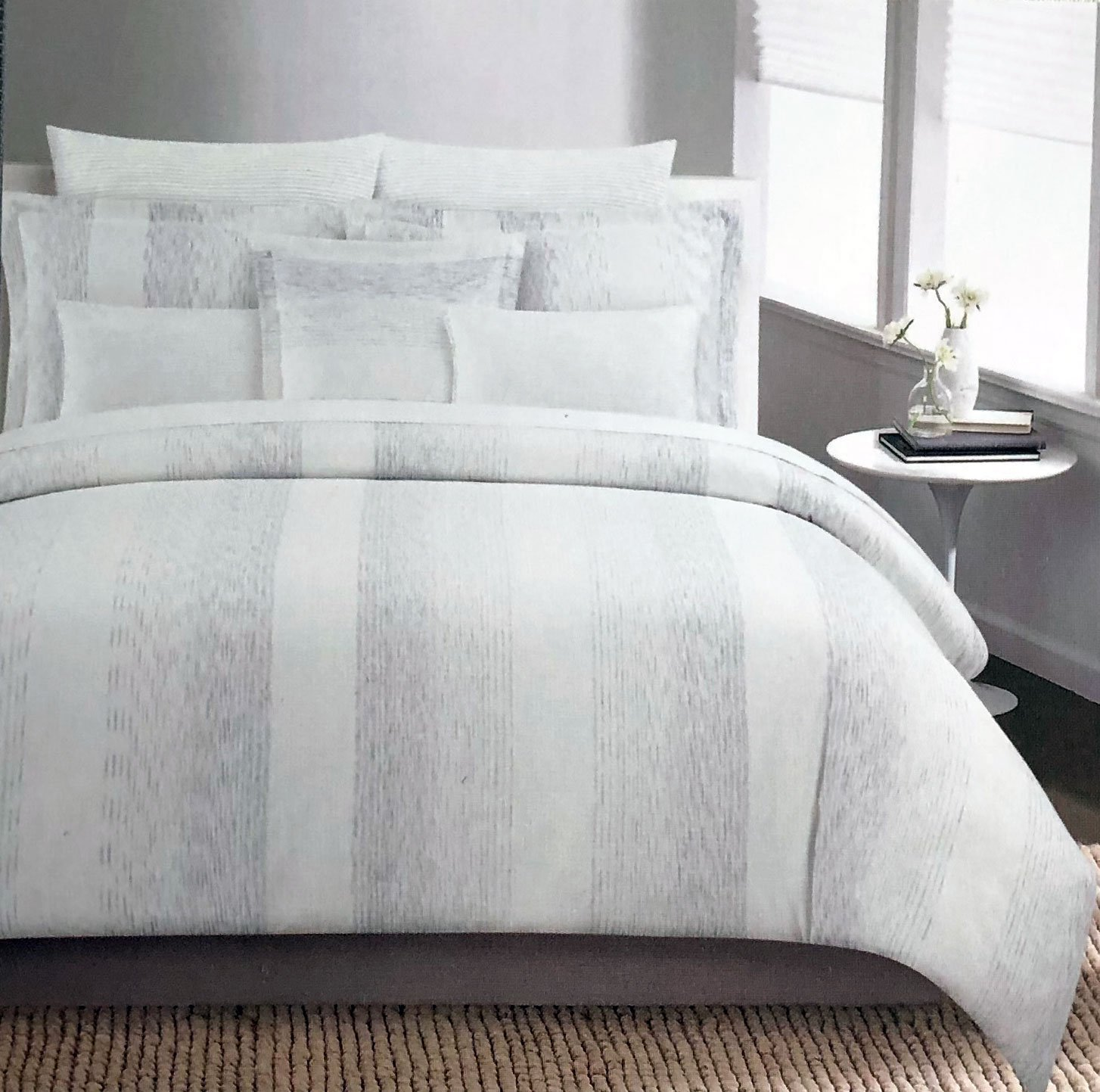Tahari Bedding Metallic Silver Stripes on Cream Duvet Cover Set Full/Queen 3 Piece Modern Pattern Quilt Comforter Cover - Galaxy