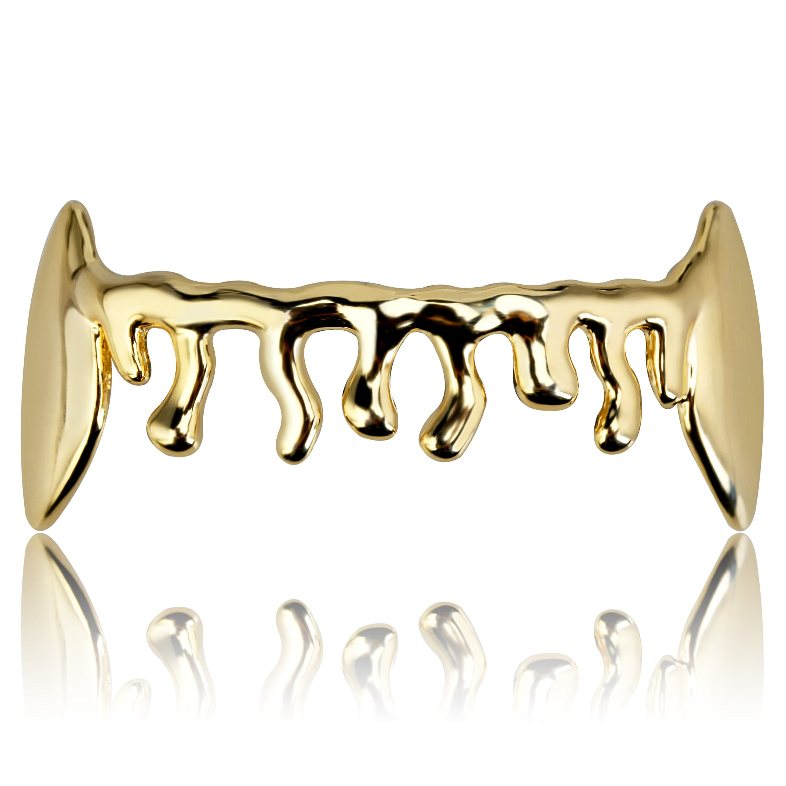 TOPGRILLZ Hip Hop 14K Gold and Silver Plated Custom Drop Vampire Dracula Bottom Grillz for Your Teeth (Gold)