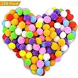 Gifort 250 stücke /2.5cm Pompons, Bunte Pompom, Pom Pom bälle Flauschigen Plüsch Bälle für Lustige DIY Kreative Handwerk