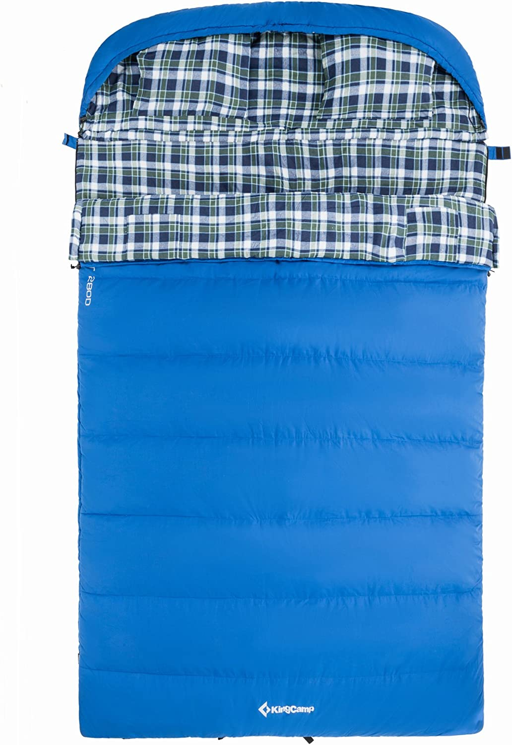 KingCamp Cotton Flannel All Season 5F -15C Envelope Sleeping Bag for Adult and Youth with Pillow, Double and Single Size