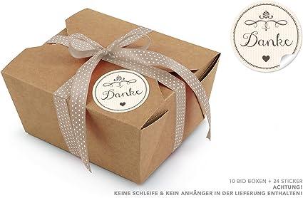 10 marrón bio Cajas + 24 pegatinas Gracias en crema • Take Away Cajas 600 ml rectangular • cartón kraft/Llano Cajas/deko Cajas de regalo/Cajas/Cartón Plegable Tapa: Amazon.es: Oficina y papelería
