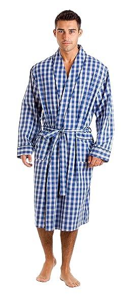 Amazon.com: Haigman Men\'s Cotton Dressing Gown Bath Robe Nightwear ...
