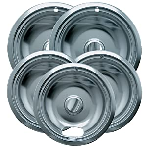 Range Kleen 12565X Style A 5 Pack Chrome Plated Drip Bowls 3 Small and 2 Large