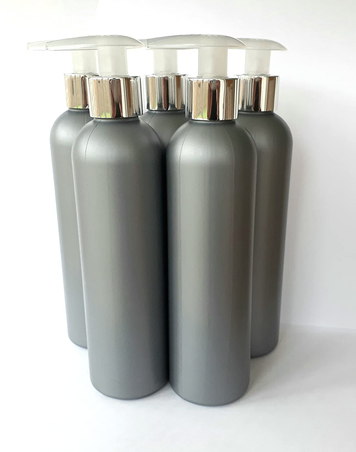 5 x 250ml Silver Grey Empty Plastic Bottles with chrome silver Lotion Pump Dispenser none Others