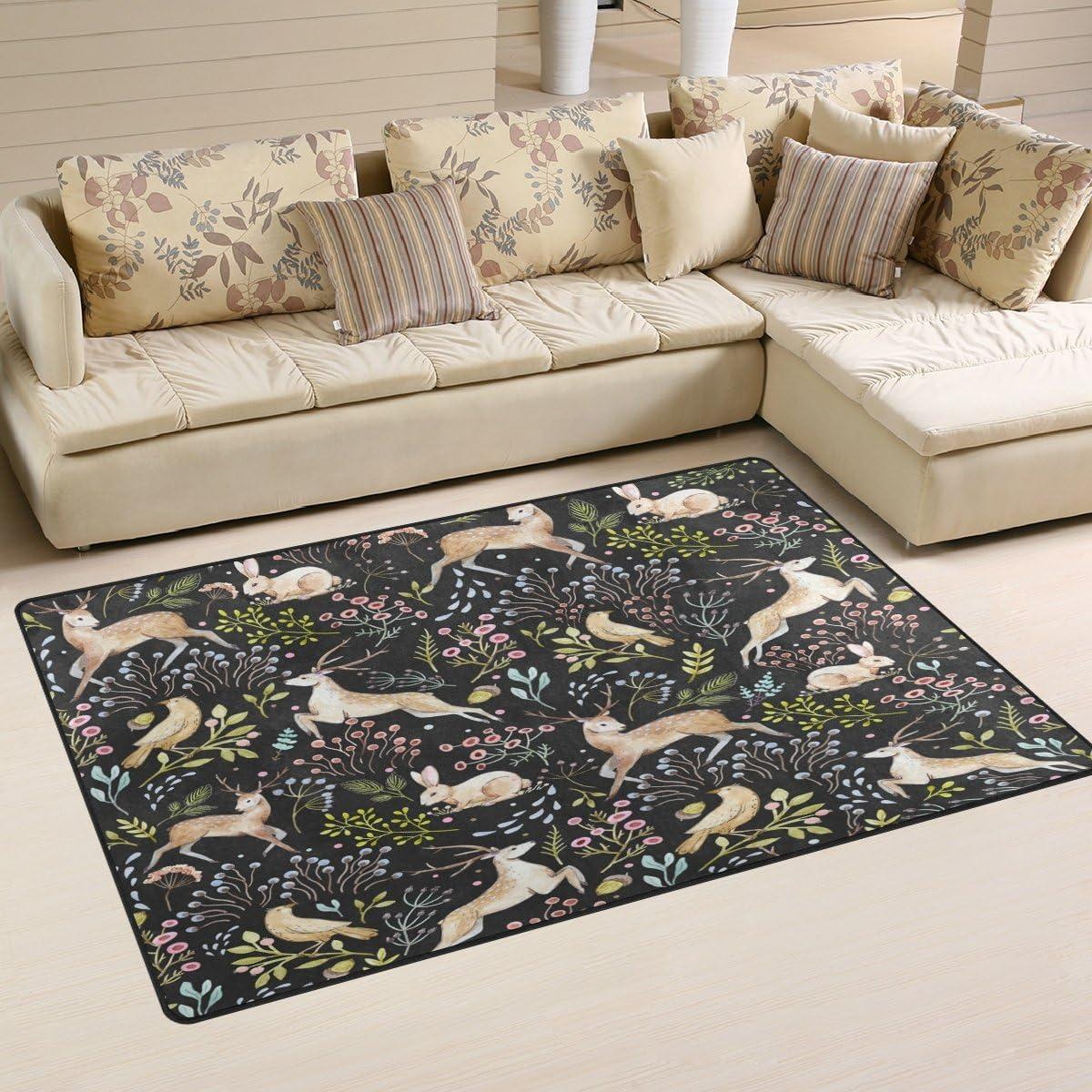 WOZO Christmas Deer Bunny Rabbit Floral Area Rug Rugs Non-Slip Floor Mat Doormat