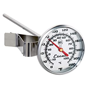 Escali AH3 NSF Certified Commercial Instant Read Large Dial Thermometer W/Clip, Silver