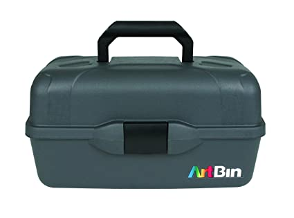 ArtBin Essentials 3 Tray Box  Black Art Supply Storage Box, 8737AB