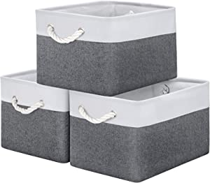 WISELIFE Storage Basket Bins [3-Pack] - Large Collapsible Storage Cubes Organizer for Shelf Closet Bedroom, Perfect Storage Box with Handles(Grey Patchwork, 15