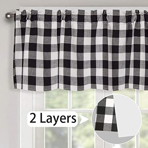 Th3mys Lined Buffalo Plaid Valance Curtains, Black and White Check Cotton Valance Handmade Gingham Farmhouse Window Treatments Valance Courtyard Valance 2 Layers Pocket for Windows 52 by 18 Inch Black