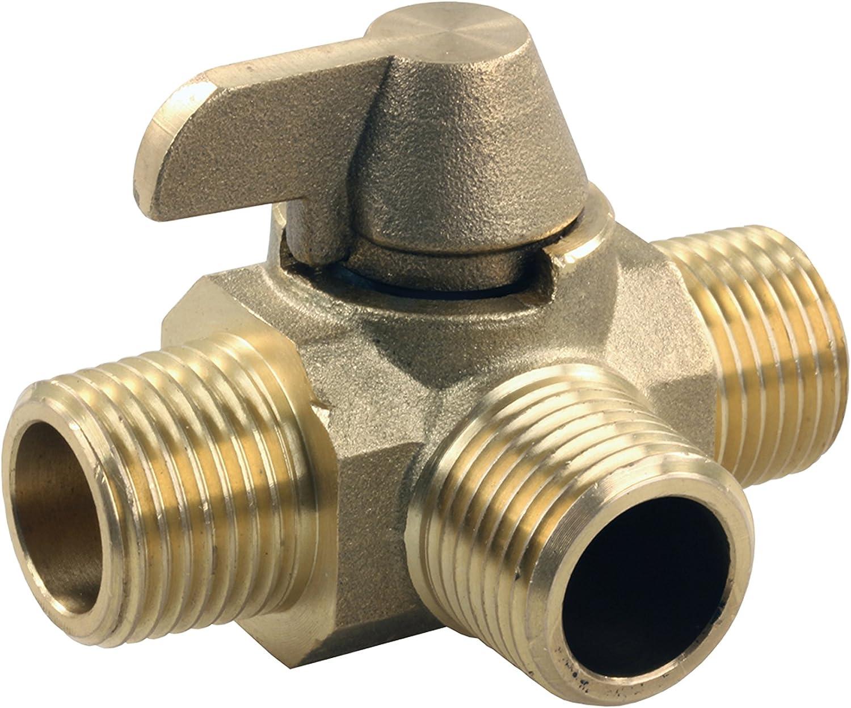 """JR Products 62255 3-Way Brass Diverter Valve - 1/2"""" MPT x 1/2"""" MPT x 1/2"""" MPT"""