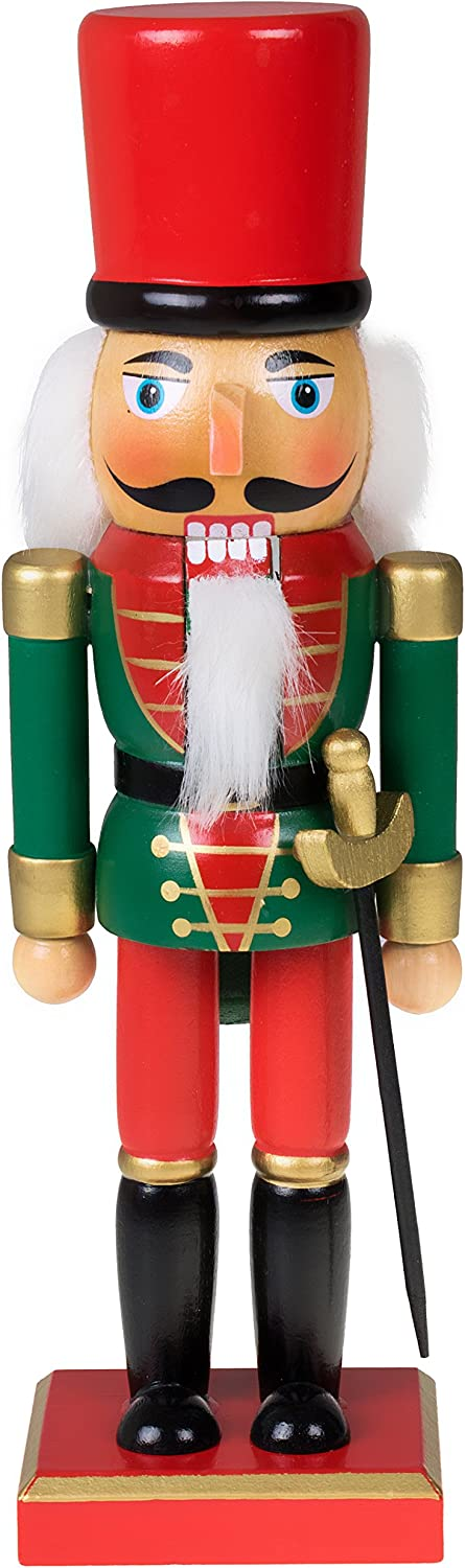 """Clever Creations Traditional Christmas Green and Red Soldier Nutcracker   Soldier Outfit with Sword   Festive Christmas Decor   10"""" Tall Perfect for Shelves and Tables"""