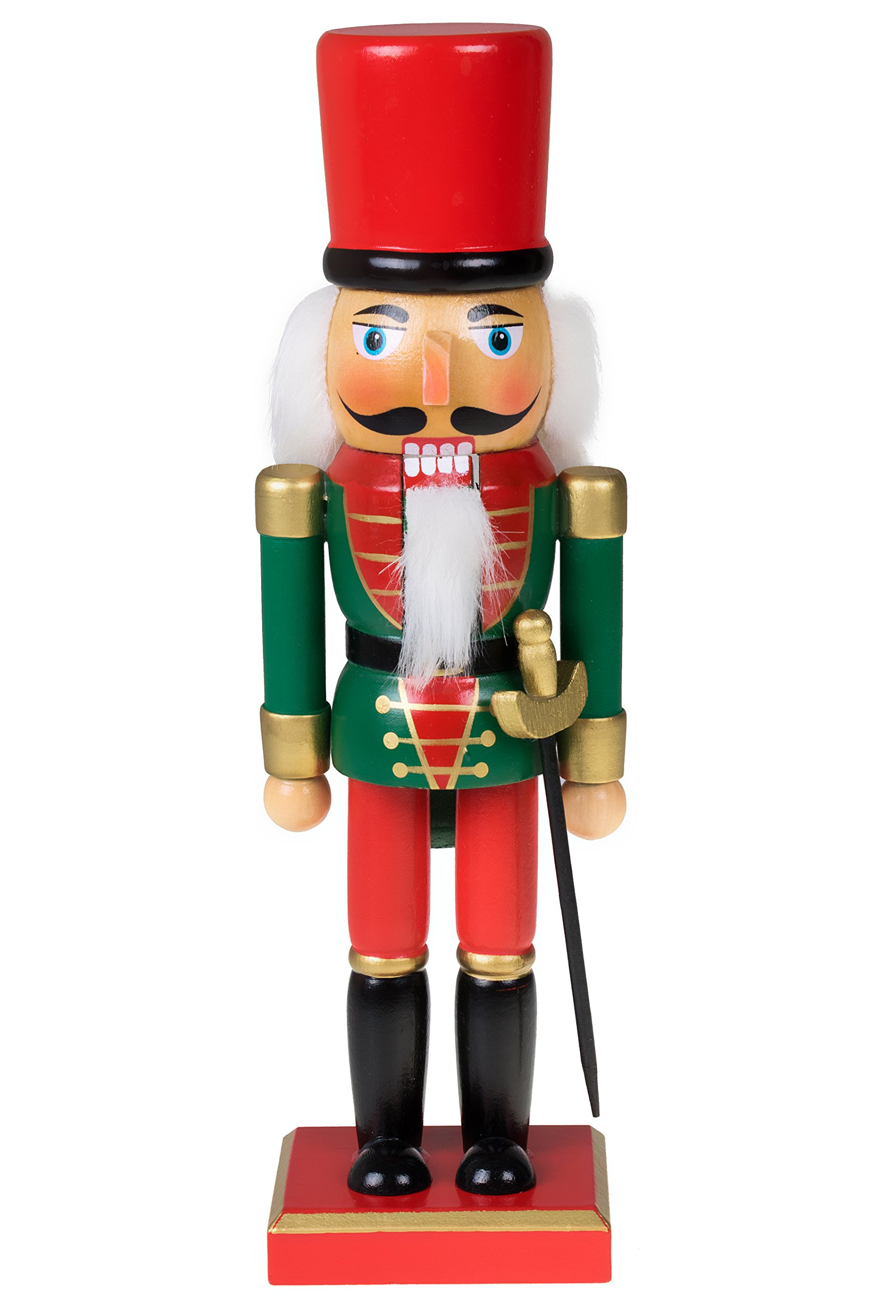 Clever Creations Traditional Christmas Green and Red Soldier Nutcracker | Soldier Outfit with Sword | Festive Christmas Decor | 10'' Tall Perfect for Shelves and Tables