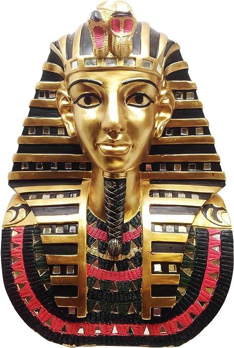 Gran egipcio rey Tut Faraón máscara dorada de Busto Estatua decorativa, diseño de Tutankamón: Amazon.es: Hogar