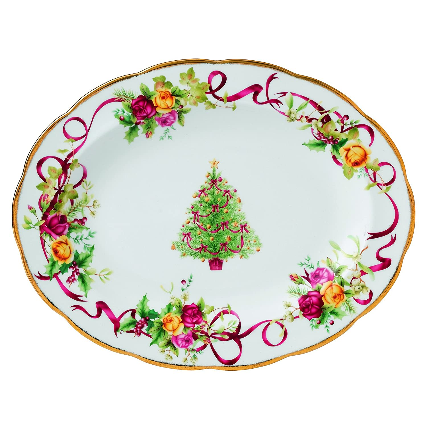 Royal Albert Old Country Roses Christmas Tree Oval Platter, 13-Inch