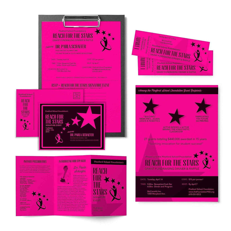65 lb 8.5 x 11 Inches 250 Sheets Fireball Fuchsia 22881 Wausau Astrobrights Cardstock Renewed