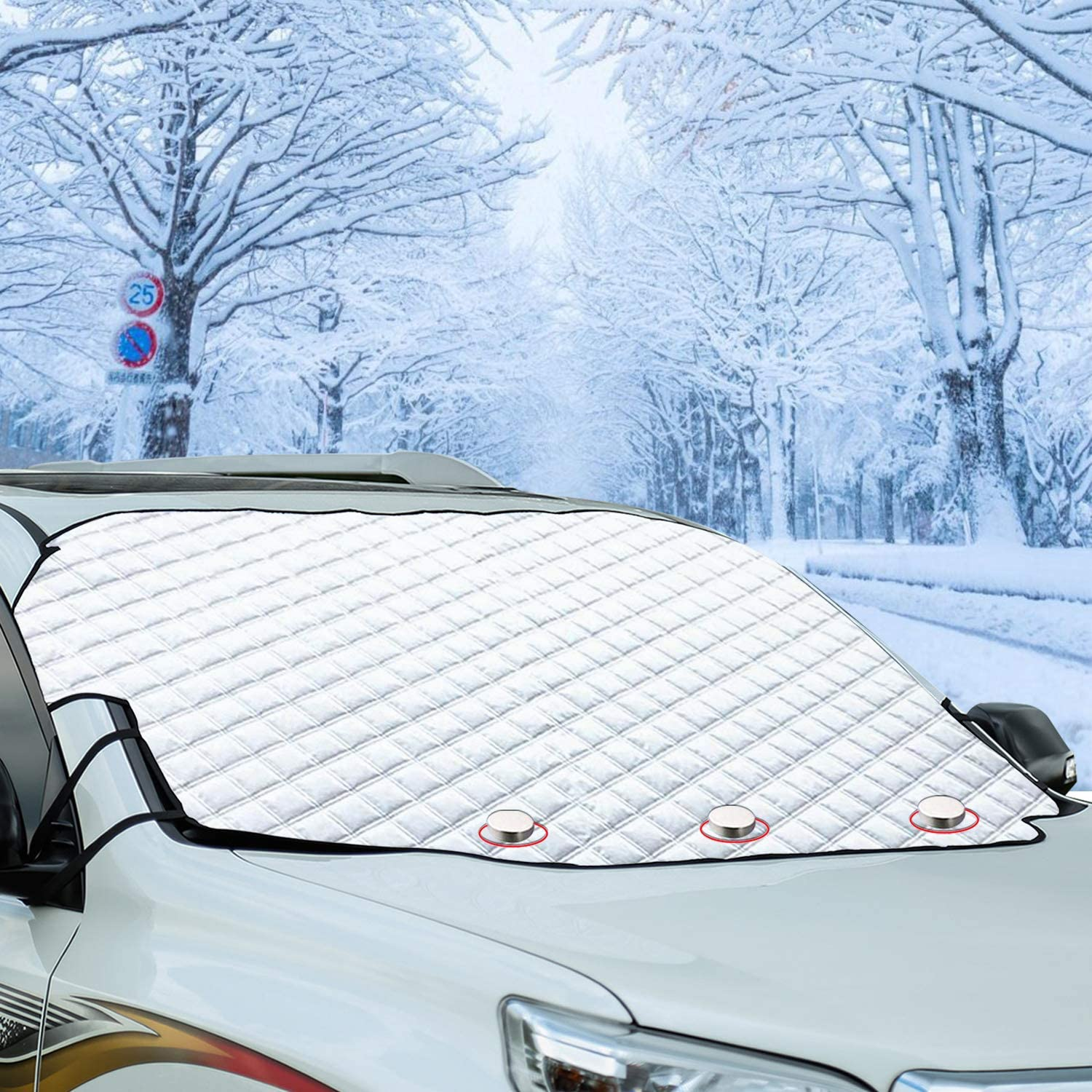WINDSCREEN FROST /& ICE SHIELD Small Car Winter Protection Suction Sheet Cover