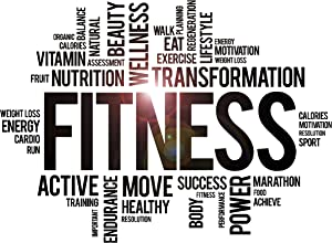 Vinyl Wall Decal Fitness Word Cloud Healthy Lifestyle Gym Motivation Stickers Large Decor (ig3825) Black 45 in X 62 in