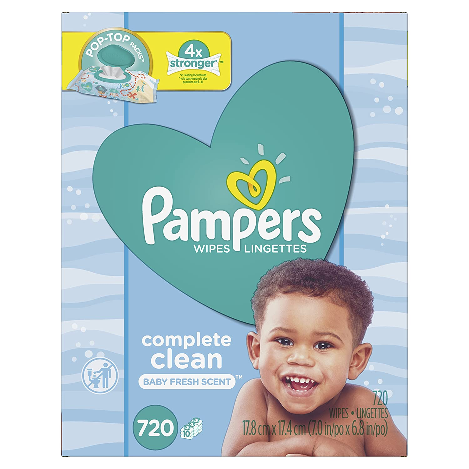 Pampers Baby Wipes Complete Clean SCENTED 3X Pop-Top, 216 Count Procter and Gamble