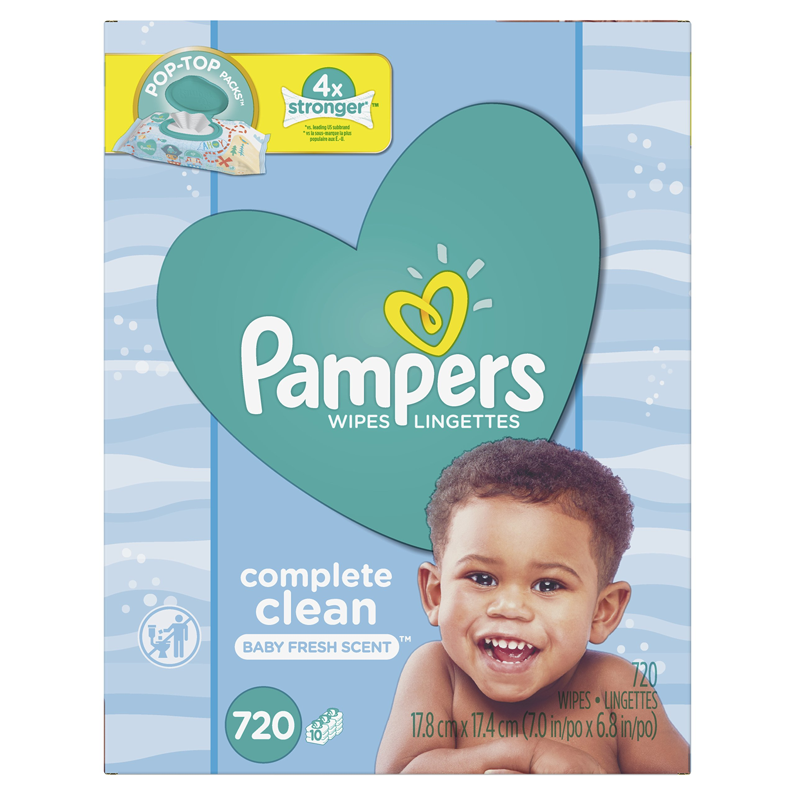 Baby Wipes, Pampers Sensitive Water Baby Diaper Wipes, Complete Clean Scented, 10X Pop-Top Packs, 720 Total Wipes by Pampers