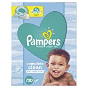 Baby Wipes, Pampers Sensitive Water Baby Diaper Wipes, Complete Clean Scented, 10X Pop-Top Packs, 720 Total Wipes