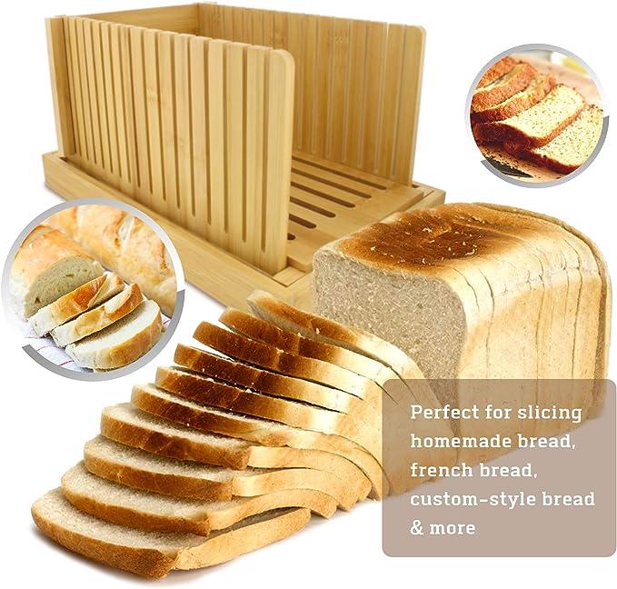 Amazon.com: Rural365 - Cortador de pan de bambú con bandeja ...