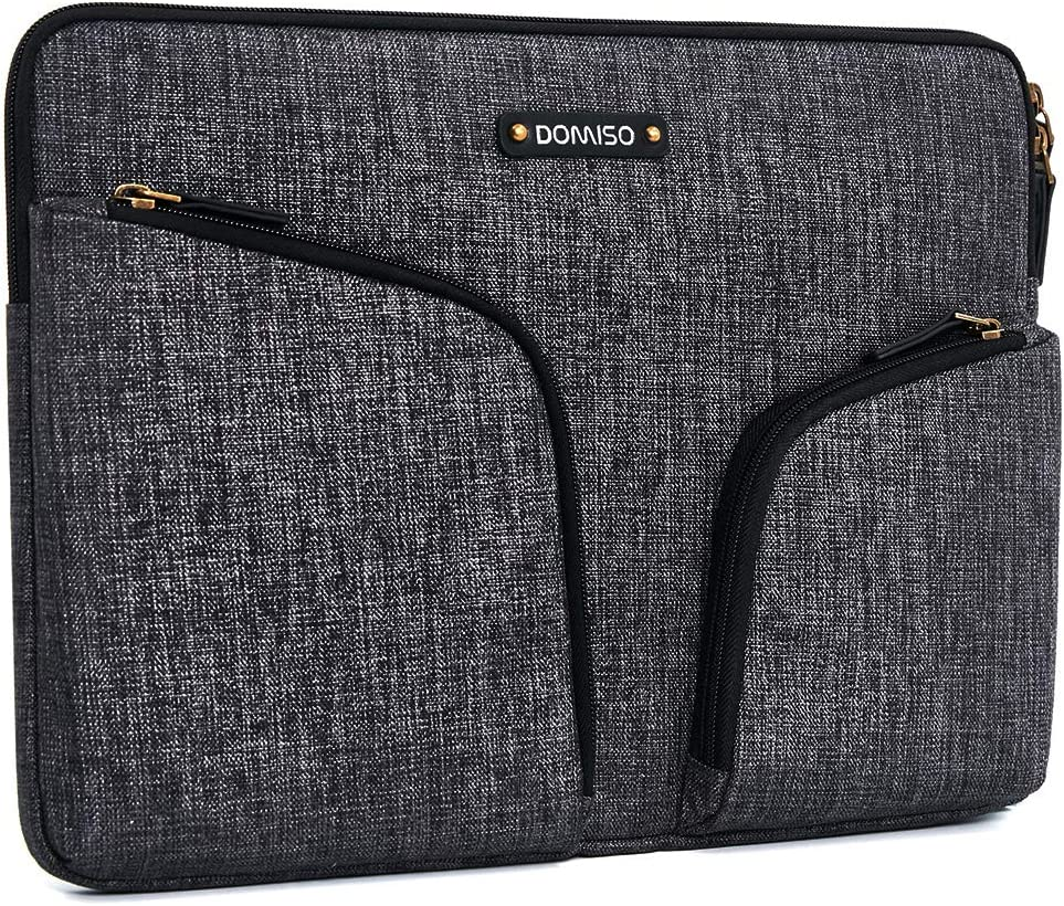DOMISO 13.3 Inch Waterproof Laptop Sleeve Canvas with Back Handle Tablet Case for 13-13.3 Inch Laptops/MacBook Pro Retina/Dell Inspiron 13 XPS 13 / Asus/Acer/Lenovo/HP, Dark Grey