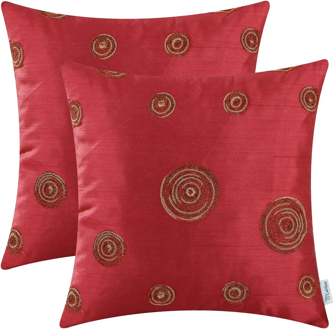 CaliTime Pack of 2 Cushion Covers Throw Pillow Cases Shells for Sofa Couch Home Decoration 18 X 18 Inches Modern Random Circles Rings Geometric Chain Embroidered Deep Red