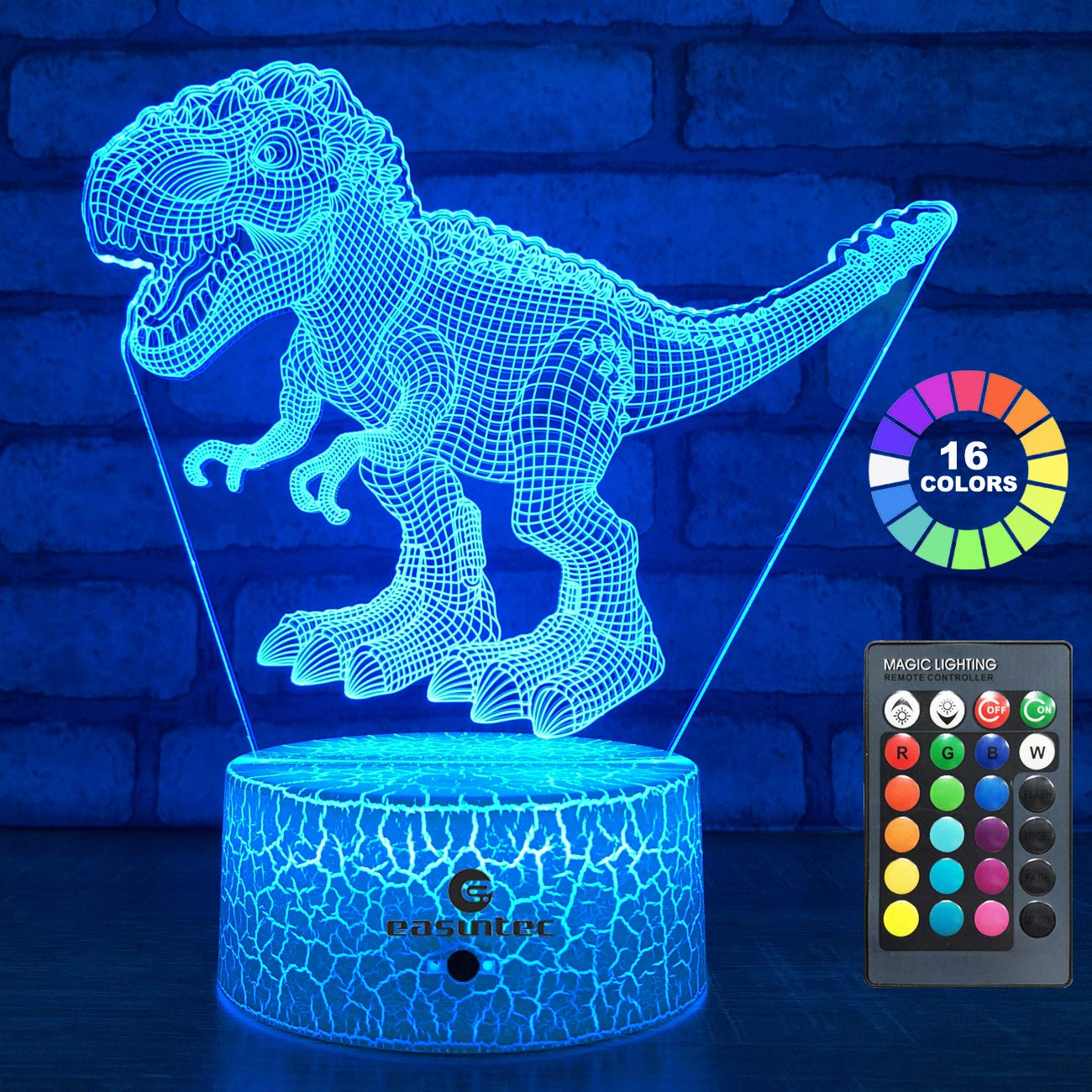easuntec Dinosaur Toys 3D Night Light with Remote & Smart Touch 7 Colors + 16 Colors Changing Dimmable TRex Toys 1 2 3 4 5 6 7 8 Year Old Boy or Girl Gifts (TRex 16WT) by easuntec