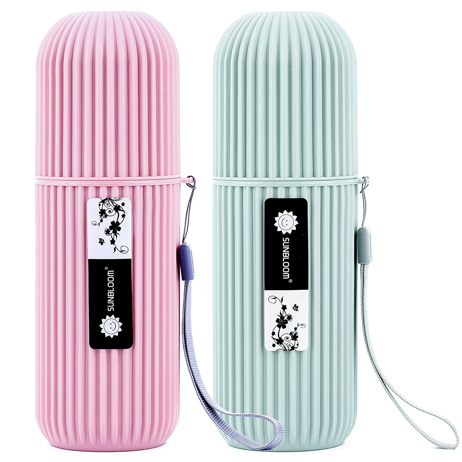 Travel toothbrush case, mouth wash cups, office supplies organizer, cosmetic holder. 2 pack of (Grey and Pink)