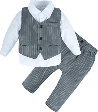Gray Long Pants Hat Kehen Newborn Infant Baby Boy Spring Outfits 3pc Little Man New to The Crew Long Sleeve Romper