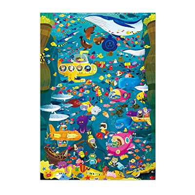 Puzzles for Adults 1000 Piece- Wooden Jigsaw Puzzle Carboad Puzzles for Adults Kids Child Family- Undersea Adventures/World Map: Toys & Games