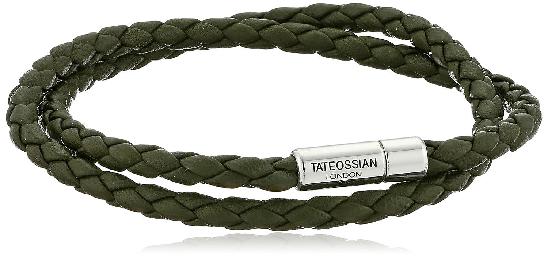 Tateossian RT Mens Two-Tone Double-Wrap Bracelet, Black