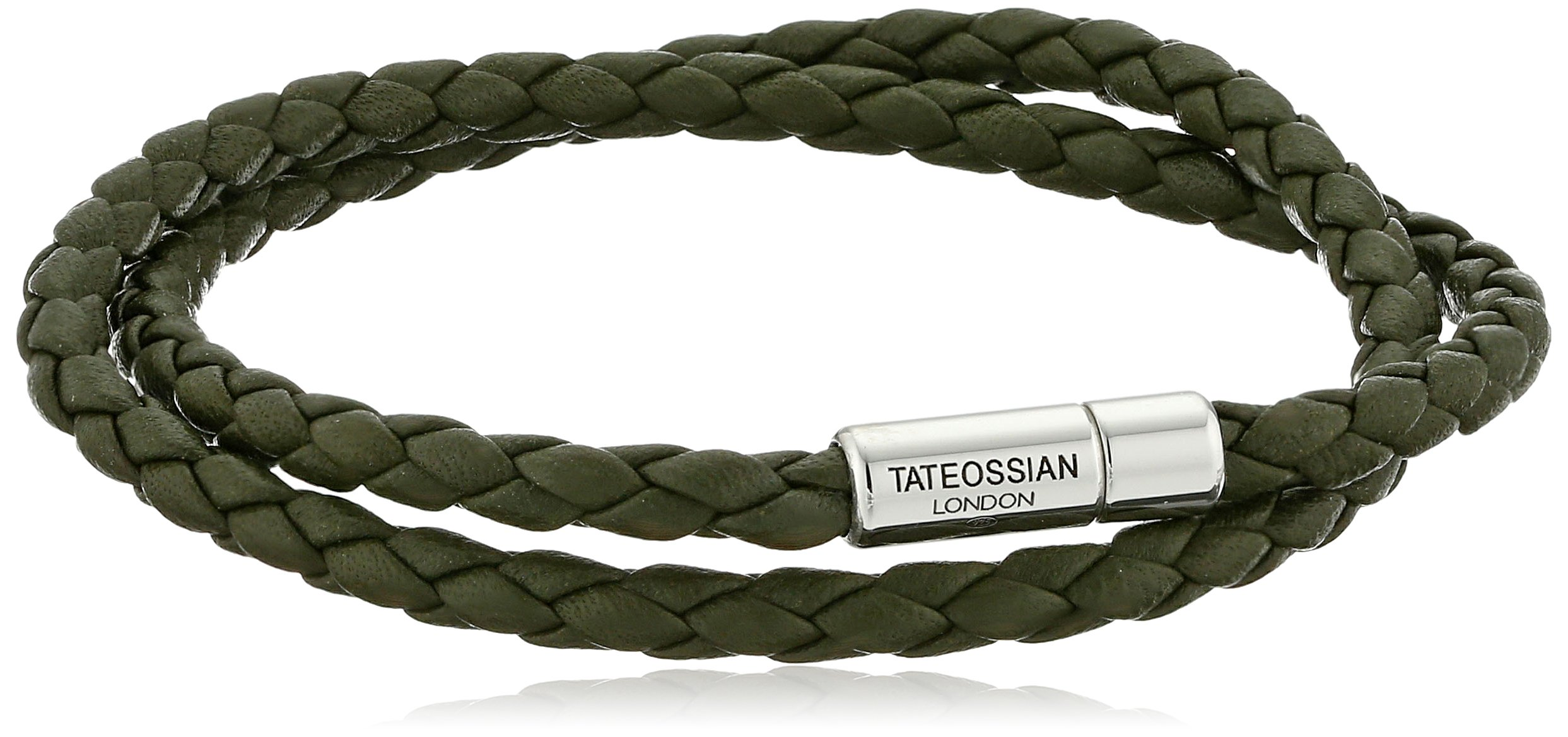 Tateossian Scoubidou Pop Silver Green Large Double Wrap Bracelet