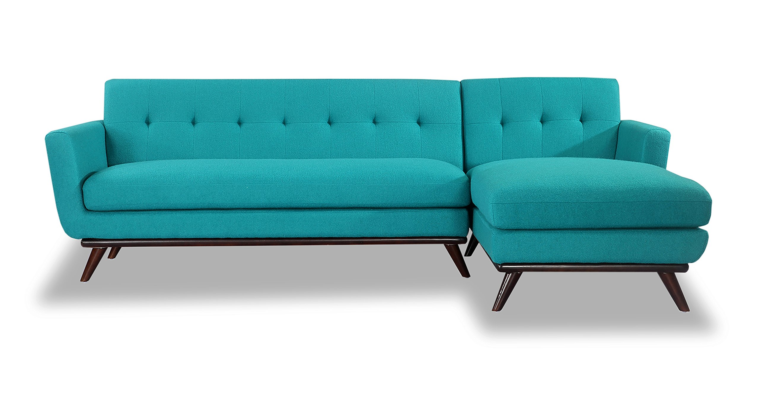 Kardiel Jackie Mid-Century Modern Sectional Sofa Right, Turquoise Cashmere Wool