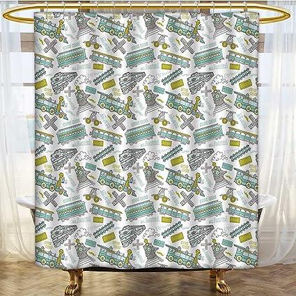 AmaPark Fabric Shower Curtain Choo Train Theme Boy Blue Green Number Plate Print Apple