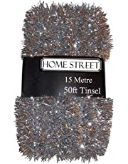 Homestreet Extra Long Tinsel 15 metre, 50 foot,Very Long Christmas Tinsel in a choice of Red, Silver or Gold Xmas Decoration