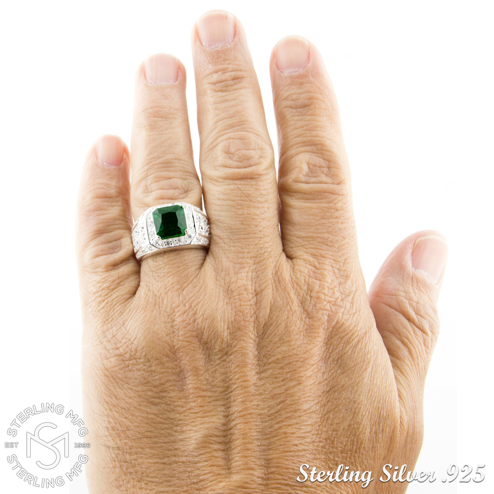 Men's Elegant Sterling Silver .925 Ring High Polish Princess Cut Featuring a Synthetic Green Emerald and 32 Fancy Round Cubic Zirconia (CZ) Stones by Sterling Manufacturers (Image #5)