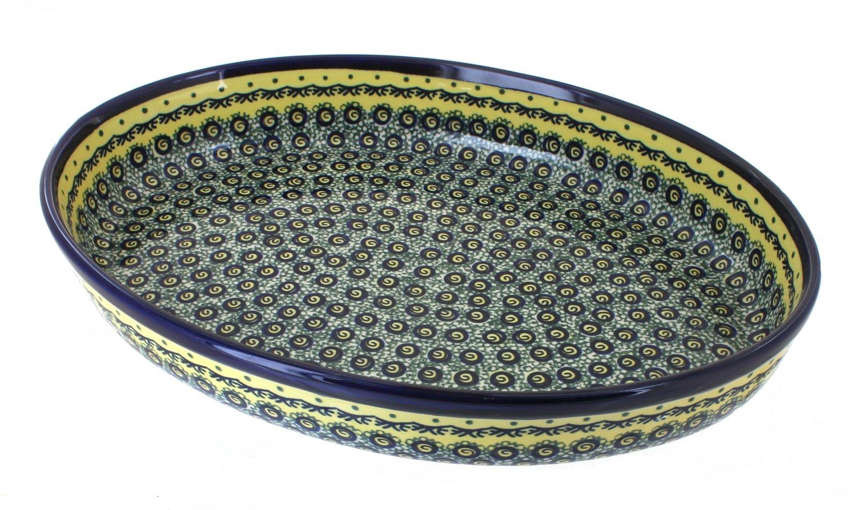 Polish Pottery Renaissance Large Oval Baker