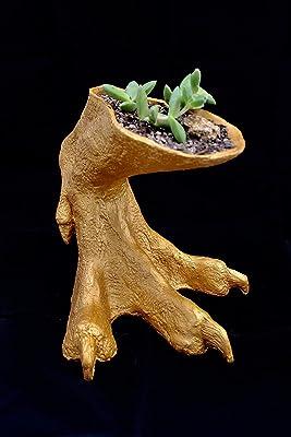 Tyrannosaurus Rex Foot Vase/Planter - Gold