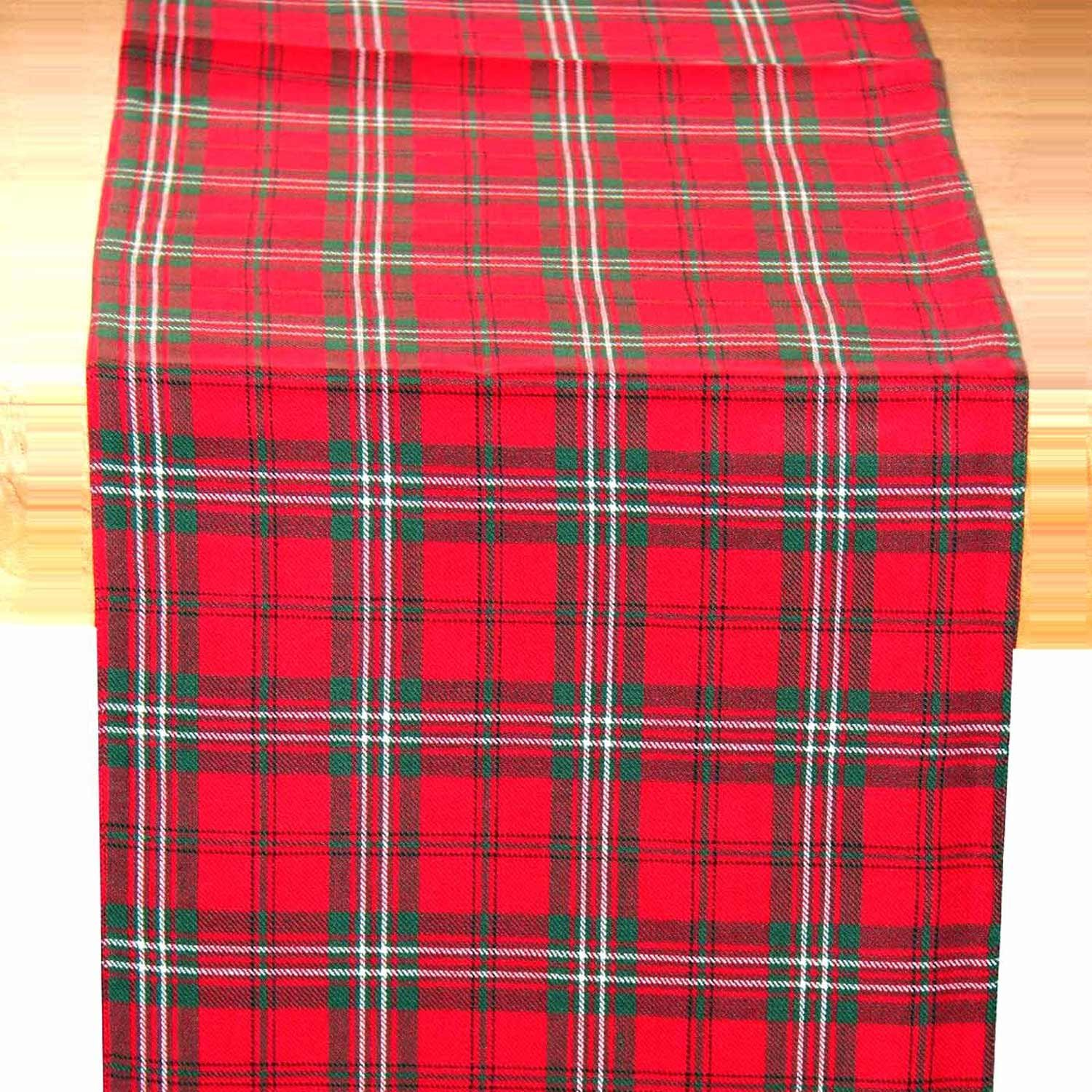 Homescapes   Christmas   Table Runner   Edward Tartan Check   X Mas Design    15 X 55 Inch   100% Cotton   White Green And Red Colour   Washable At  Home: ...