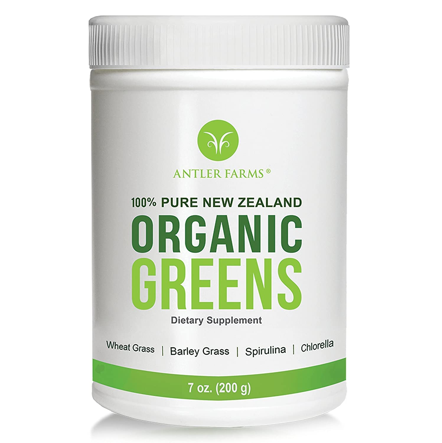 Antler Farms - 100% Pure New Zealand Organic Greens Superfood Powder, 50 Servings, 200g - Wheat Grass, Barley Grass, Chlorella, Spirulina - Vegan, Gluten Free, NO Pesticides, NO Chemicals, NO GMOs