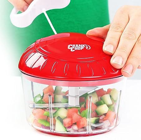 Crank Chop Chopper Alimentos y procesador Original - Chop Dados Puré de Verduras Cebolla Ajo de los Tomates Carnes y Frutos Secos en Tan sólo Unos Segundos para deliciosas Comidas Salsa casera: