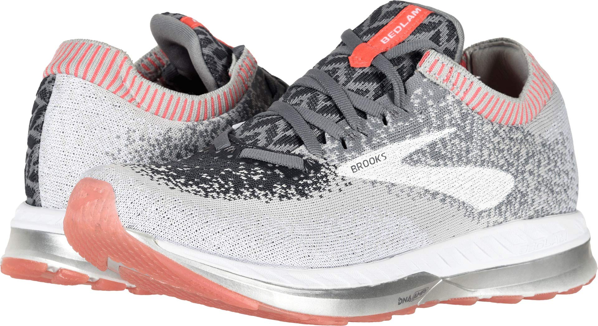 Brooks Women's Bedlam Grey/Coral/White 9 B US by Brooks