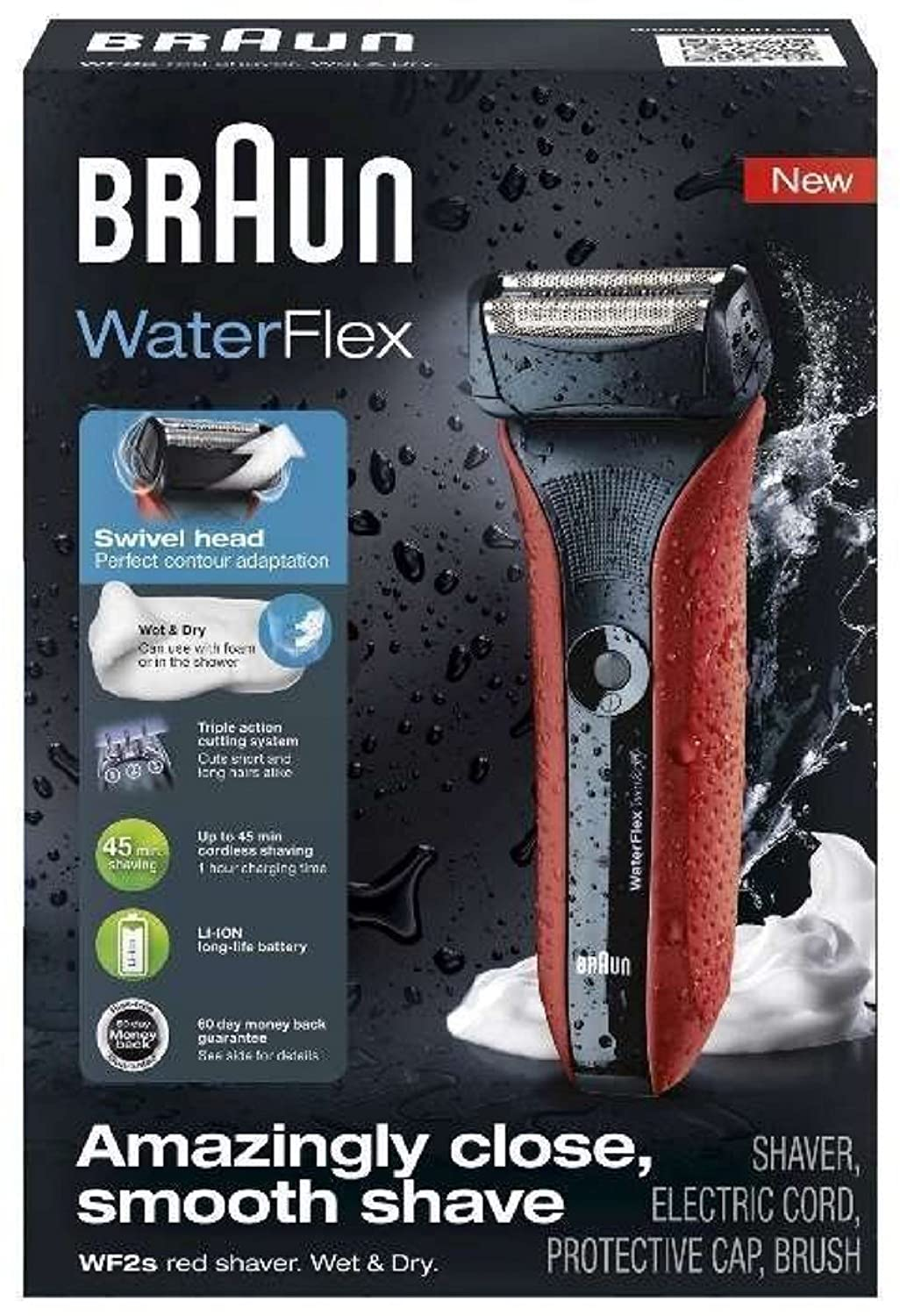 Braun 00000 WaterFlex WF2s Electric Shaver, 5, Red