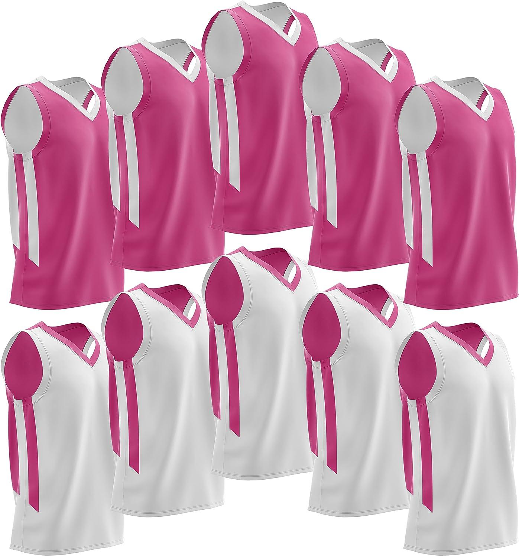 Liberty Imports 10 Pack - Reversible Men's Mesh Performance Athletic Basketball Jerseys - Adult Team Sports Bulk (Pink/White): Clothing